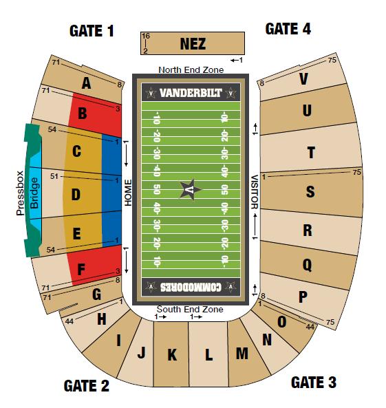 Football Seating Chart Vanderbilt University Athletics Official